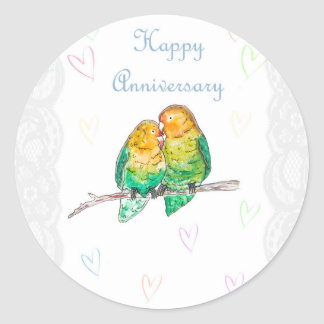 Happy anniversary lovebirds watercolour design classic round sticker