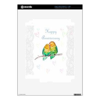 Happy anniversary lovebirds watercolour design decals for iPad 2