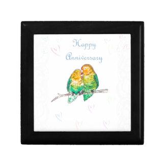Happy anniversary lovebirds watercolour design gift box