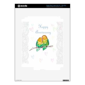 Happy anniversary lovebirds watercolour design iPad 3 decals