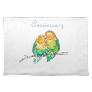 Happy anniversary lovebirds watercolour design placemat