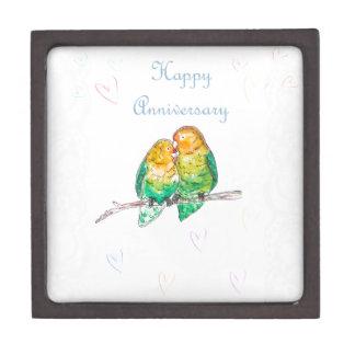 Happy anniversary lovebirds watercolour design premium trinket box