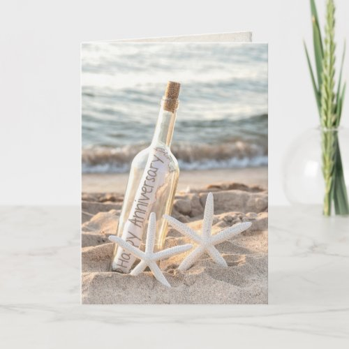 happy anniversary message in a bottle and starfish card