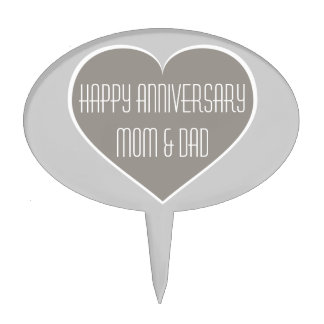 Happy Anniversary Mom & Dad silver and white heart Cake Topper