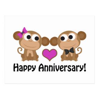 Happy Anniversary Monkeys Postcard