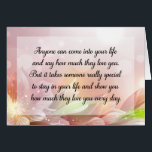 """Happy Anniversary or Birthday Love Quote Card<br><div class=""""desc"""">Girly-Girl-Graphics at Zazzle: Anyone can come into your life and say how much they love you... Customizable Happy Birthday, Happy Anniversary, or Happy Any Day Love Quote Greeting Card Horizontal 7&quot; x 5&quot; x 300 ppi art images with the same sized font inside and outside (much clearer and sharper than...</div>"""