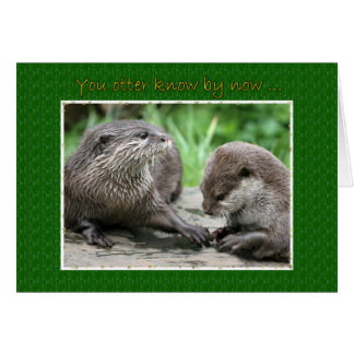 Happy Anniversary Otter Couple Card