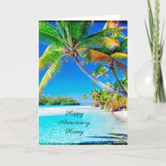 Happy Anniversary Palm Tree at Sunset Ocean Breeze Holiday Card
