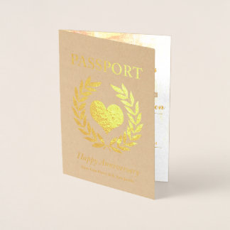 Happy Anniversary Party Gold Passport Foil Card