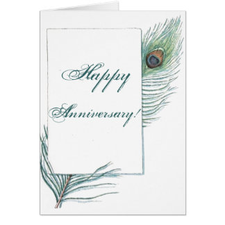 Happy Anniversary Peacock Feather Inspirational Card