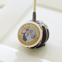 Happy Anniversary Photo with Custom Text - Gold Cake Pops