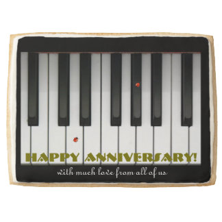 Happy Anniversary Piano Keys Ladybugs Customizable Shortbread Cookie