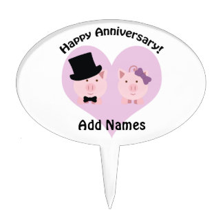 Happy Anniversary Pig Couple Cake Topper