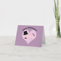 Happy Anniversary Pig Couple Card