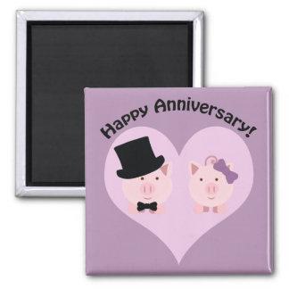 Happy Anniversary Pig couple Fridge Magnet
