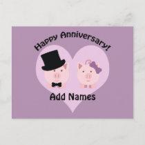 Happy Anniversary Pig couple Postcard