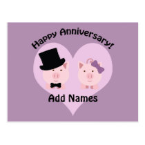 Happy Anniversary Pig couple Postcard
