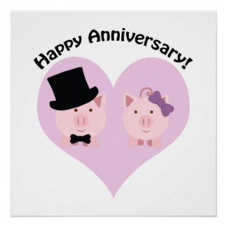 Happy Anniversary Pig couple Poster