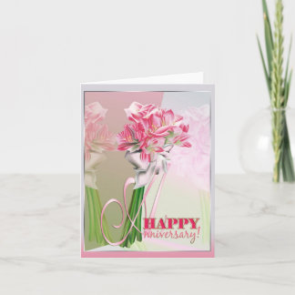 Happy anniversary pink bunch of lilies cards