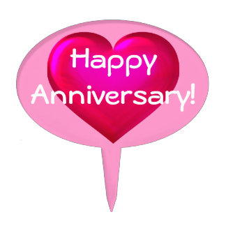 Happy Anniversary! pink glass heart Cake Topper