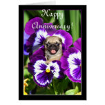 Happy Anniversary Pug in pansies card