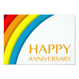 happy anniversary (retro rainbow) 3.5x5 paper invitation card
