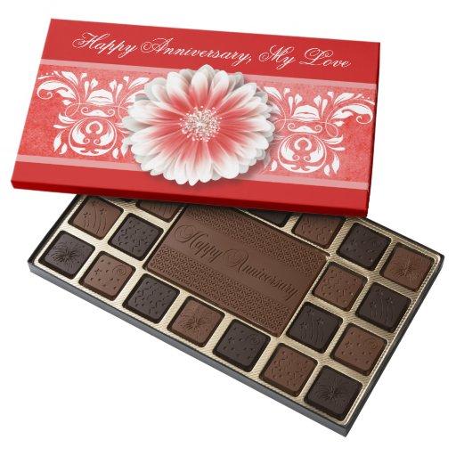 Happy Anniversary Romantic Gerbera Daisy   red 45 Piece Box Of Chocolates