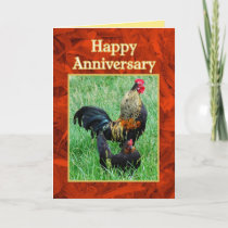 Happy Anniversary Rooster and Hen Red Feathers Card