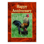 Happy Anniversary Rooster and Hen Red Feathers Greeting Card