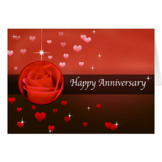 Happy Anniversary Rose & Hearts With Bling Card