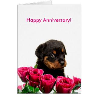 Happy Anniversary Rose Rottweiler Puppy Card