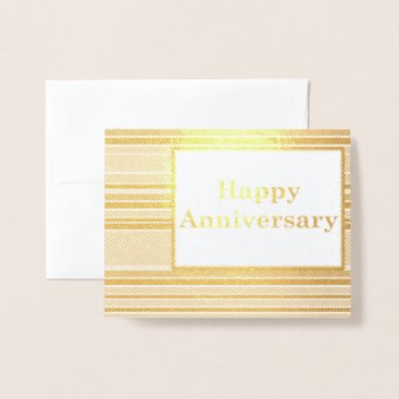 Professional Business Happy Anniversary Stripes Foil Card