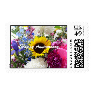 Happy Anniversary Sunflower bouquet Postage