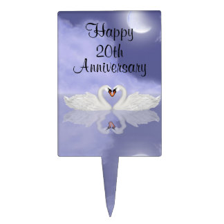 Happy Anniversary Swans Cake Topper