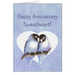 Happy Anniversary Sweetheart Blue Lovebirds Greeting Card