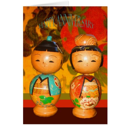 Happy anniversary two japanese dolls card zazzle