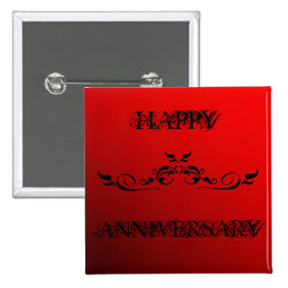 Happy Anniversary Two Tone Red Button