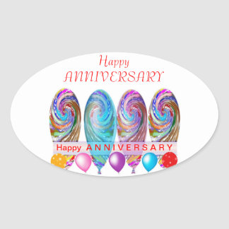 Happy ANNIVERSARY: Txt editable any occassion Oval Sticker