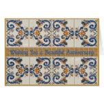 Happy Anniversary Vintage CeramicTiles Greeting Card