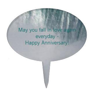 Happy Anniversary Waterfall Cake Topper