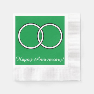 Happy Anniversary Wedding Rings on Green Paper Napkin