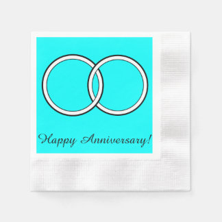 Happy Anniversary Wedding Rings on Turquoise Napkin