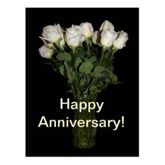 Happy Anniversary White Roses Postcard