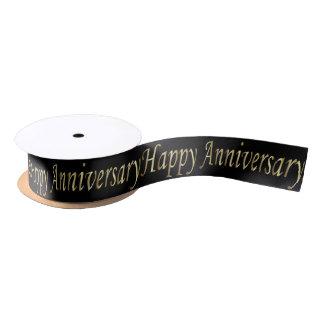 Happy Anniversary Word in Gold Print Satin Ribbon