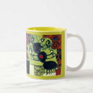 Happy Ant - Art by Dan Robertson Two-Tone Coffee Mug