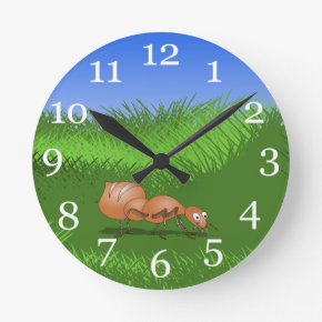 Happy ant in a lush meadow round clocks