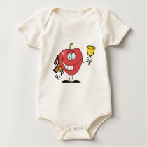 Happy Apple Ringing A Bell For Back To School Baby Bodysuit