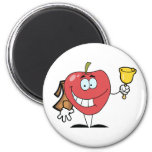 Happy Apple Ringing A Bell For Back To School Refrigerator Magnet