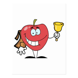 Happy Apple Ringing A Bell For Back To School Postcard