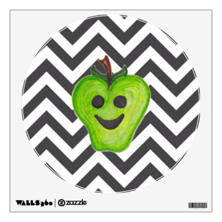 """Happy Apples Teacher"" Green Apple Circle Decal"